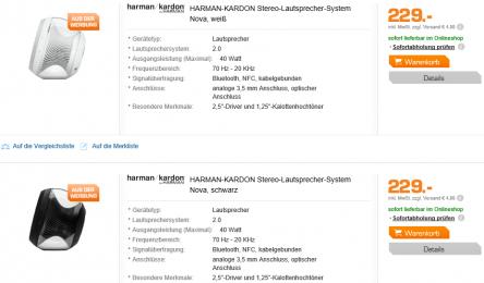 Harman-Kardon Nova 2.0 Stereo-Lautsprecher (BT, NFC) um 229 € - bis zu 23% sparen