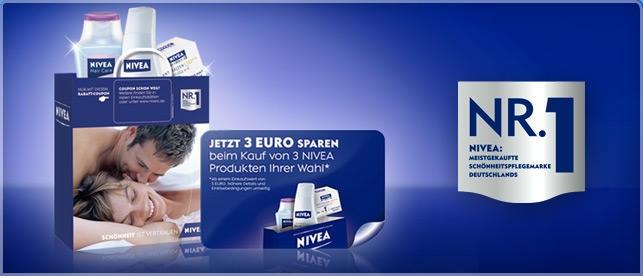3€ sparen beim Kauf von 3 Nivea Produkten für 5€