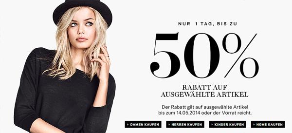 H&M: Bis zu 50% Rabatt auf ausgewählte Artikel - aber nur heute