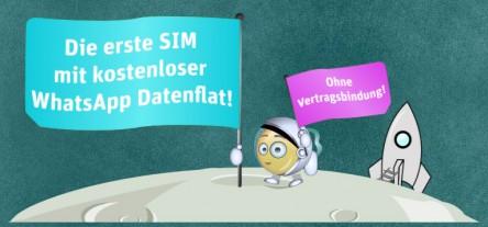 Prepaid WhatsApp SIM-Tarif: kostenlose Nutzung von Whatsapp bei Aufladung von jährlich 20 €
