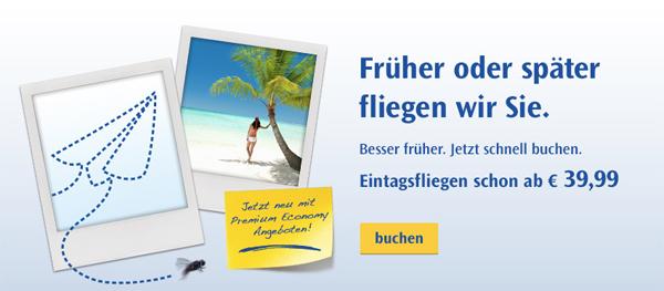 Flugschnäppchen: One-Way-Flüge in den Condor-Eintagsfliegen ab 39,99 € *Update*