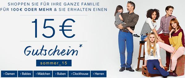 C&A Österreich: 15 € Rabatt ab einem Einkauf von 100 €