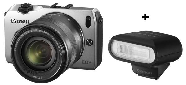 Systemkamera Canon EOS M mit 18-55 mm-Objektiv + Speedlite 90EX Blitz für 275,90 € - 17% sparen