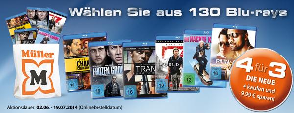 Müller: 4 Blu-rays kaufen, nur 3 davon bezahlen & Konter von Amazon