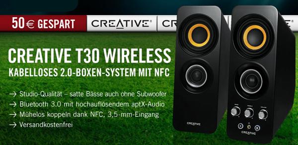 2.0 Funk-Lautsprecherset Creative Labs T30 (Bluetooth, NFC) für 79,90 € - 29% sparen