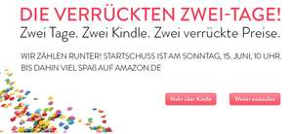 """Vorabinfo: """"Die verrückten zwei Tage"""" mit Kindle-Angeboten bei Amazon - ab Sonntag"""