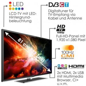 "Thomson ""32FZ5233"" LED-TV (32"" FullHD, 100Hz CMI, DVB-C/T) um 249,99 € - bis zu 17% sparen"