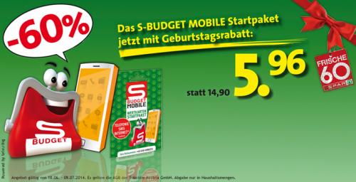 S-Budget Mobile Startpaket inkl. 1000 Minuten, 1000 SMS und 1000 MB für 5,96 € - 60% sparen