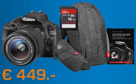 Canon Set: EOS 100D + 18-55 IS STM Objektiv + Gadget Bag 300 EG + 16 SD Karte + Buch für effektiv 399 €