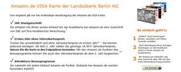 Amazon VISA-Kreditkarte beantragen und 50 € Startgutschrift gratis erhalten