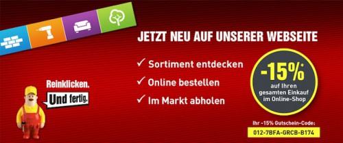 Baumax -15% Gutscheincode auf den gesamten Online-Shop