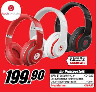 """Beats by Dr.Dre: """"Studio 2.0"""" um 199 € und """"Tour 2.0"""" um 99 € - bis zu 32% sparen"""