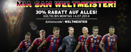 FC Bayern München Fanshop - 30% Rabatt auf alles mit Aktionscode (außer Aktionsartikel)