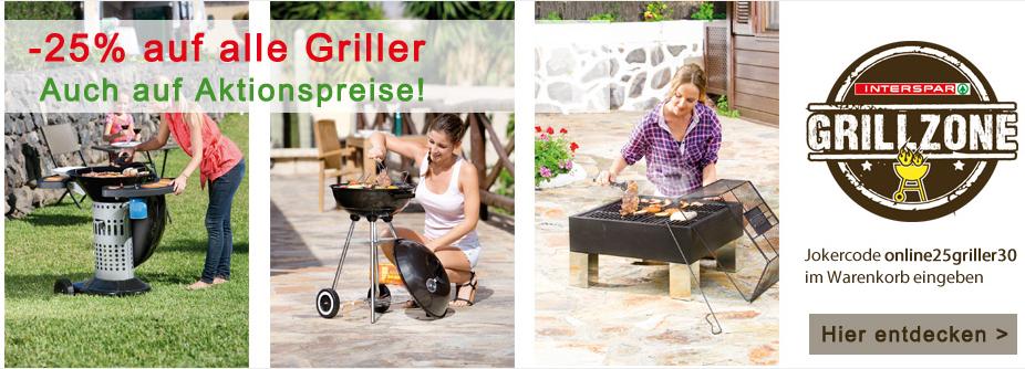 Rabattaktion auf Grills im Interspar Online-Shop - 20% bis 43% Ersparnis