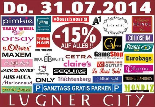 Lugner City - 15% auf Alles und ganztags gratis Parken - nur heute am 31.07.2014