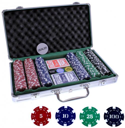 Alu-Pokerkoffer mit 300 Chips, Buttons & 2 x Kartedecks um 12,99 € DE bzw. 19,98 € AT - 46% bzw. 37% Ersparnis