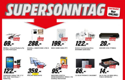 Media Markt Supersonntag – 10 Artikel im Angebot – bis zu 46% sparen
