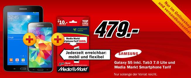 Galaxy S5 + Tab 3 (7.0) Lite um 479 € bei Media Markt DE - 14% Ersparnis