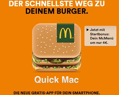 """McDonald's """"Quick Mac"""" App: VIP Gutschein """"großes McMenü um 4 €"""" - rund 37% sparen"""