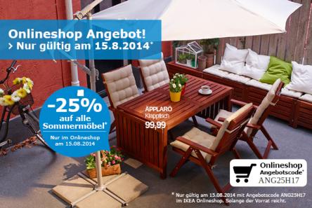 IKEA Onlineshop: -25% auf alle Sommermöbel - gültig nur heute