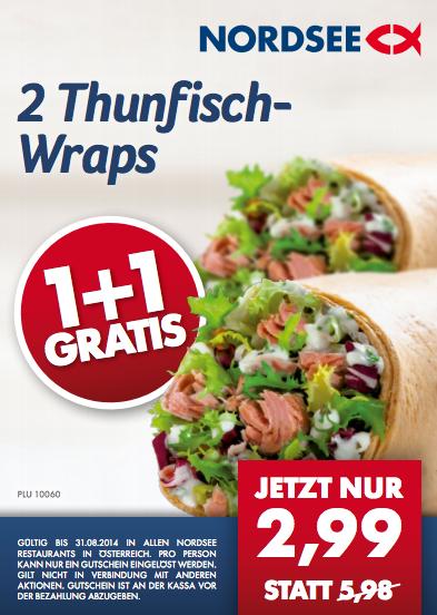 ÖAMTC Mitglieder: 2 x Thunfisch-Wraps - nur einen bezahlen bei Nordsee (mit Gutschein)