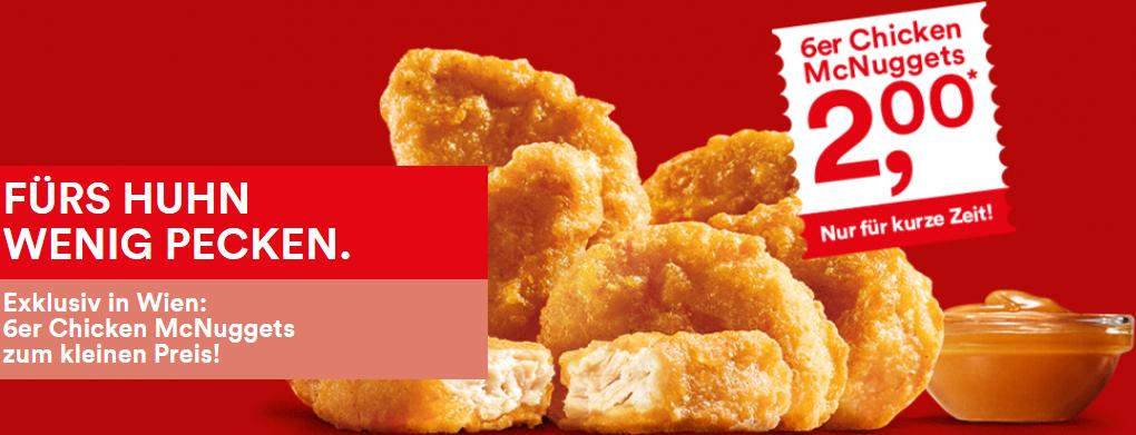McDonald's Wien Deal: 6er Chicken McNuggets um 2 € - bis zu 46% sparen