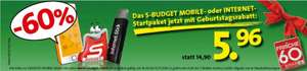 S-BUDGET Mobile Telefonie-Startpaket um 5,96 € - 60% Ersparnis