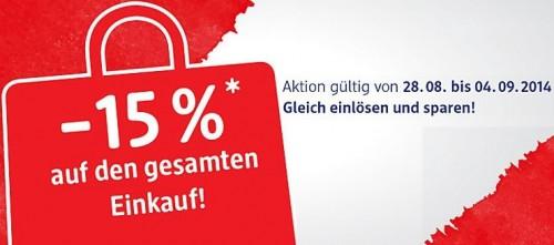 DM - 15% Rabatt auf den gesamten Einkauf bis Donnerstag dem 04.09.2014