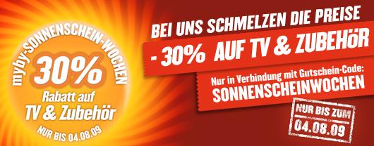 HAMMER: 30% Rabatt auf alle TVs und TV-Zubehör bei Myby