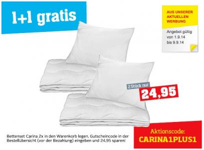 1+1 Gratis Bettenset-Aktion bei Möbelix um 24,95 € - 50% Ersparnis
