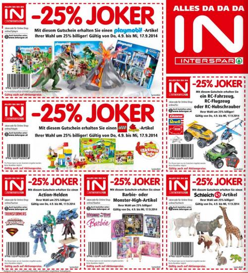 -25% auf einzelne Spielwarenartikel im Interspar (Online & Lokal)