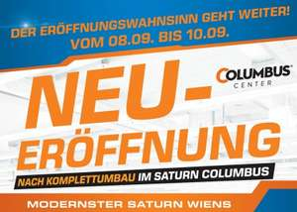 Top! Saturn Columbus Center Wien feiert weiter Neueröffnung mit sehr guten Angeboten – bis zu 46% sparen