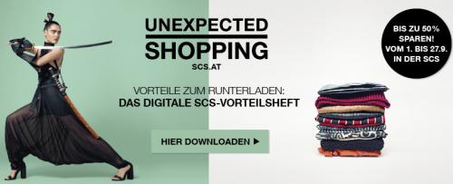 SCS (Shopping City Süd in Vösendorf) verschiedene Gutscheine lokal einlösen (ausdrucken oder mittels Smartphone)