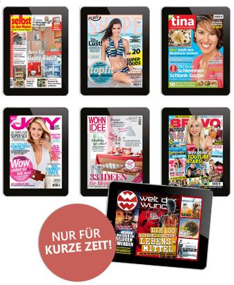 3 kostenlose Ausgaben eines ePaper's - aus 13 verschiedenen Zeitschriften auswählen (für Apple/Android oder direkt am Browser)