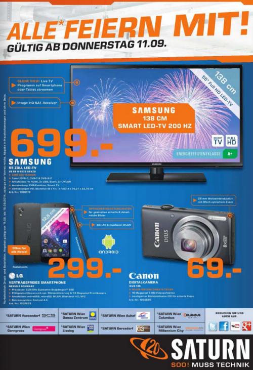 """3 Angebote in den Saturn Filialen in Wien und Umgebung, ab Donnerstag 11. September (Samsung LED TV 55"""", LG Nexus 5, Canon Ixus 135)"""