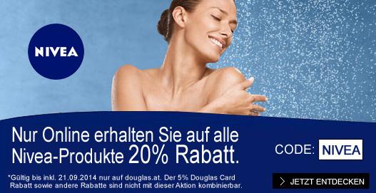 20% Rabatt Aktion auf alle Nivea Produkte im Online-Shop von Douglas AT