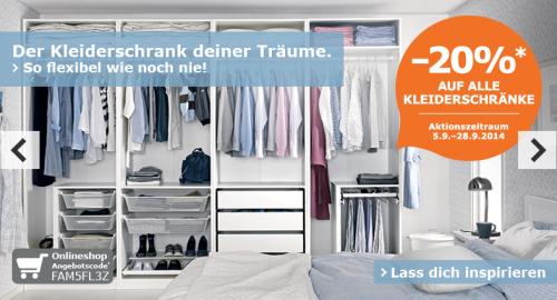 20% Rabatt auf alle Kleiderschränke bei IKEA Online (mit Aktionscode) und lokal für IKEA Family Card Mitglieder