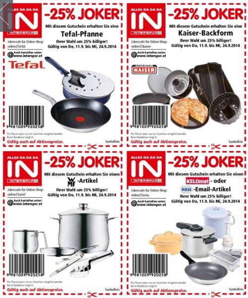 25% Coupons von Interspar für den Online-Shop und Lokal einlösbar (Tefal, WMF, Kaiser-Backform, Kelomat, Riess)