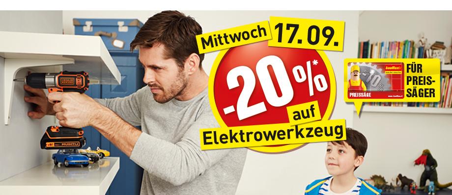 -20% auf Elektrowerkzeug bei Baumax (mit der Preissäge-Karte)