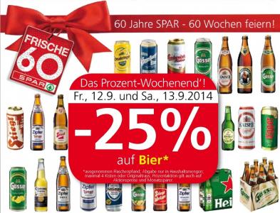 25% Rabatt auf alle Biere bei Interspar, Spar & Eurospar – nur noch heute