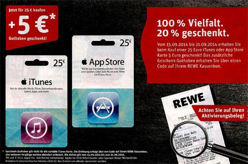 REWE: 25 € iTunes-Karte kaufen und gratis 5 € Extra-Guthaben erhalten - 17% sparen
