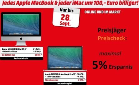 """Media Markt: 100 € Rabatt auf jedes Apple """"MacBook"""" und """"iMac"""""""