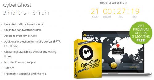 CyberGhost 5 Premium VPN - 3 Monate gratis - 7 € sparen