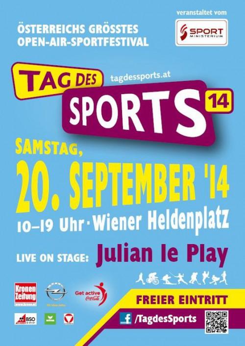 """Gratis Konzert von """"Julian le Play"""", Autogrammstunden uvm am Tag des Sports 2014 am Wiener Heldenplatz"""