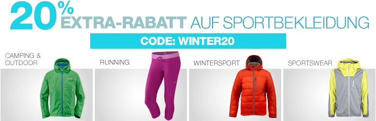 Amazon - 20% Extra-Rabatt auf ausgewählte Sportbekleidung