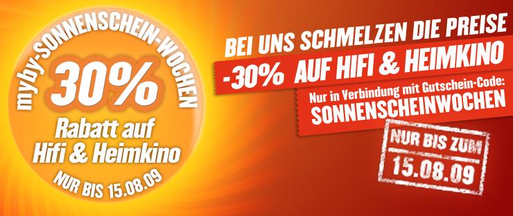 30% Rabatt auf Hifi- und Heimkinoartikel bei Myby