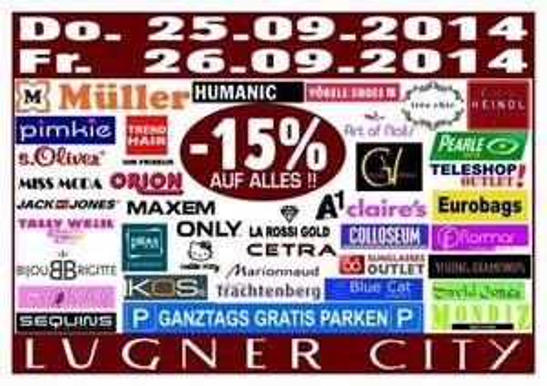 Lugner City - 15% auf Alles und ganztags gratis Parken - nur heute 26.09.2014