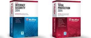 McAfee Internet Security 2014 um 10 € (1 PC) oder Total Protection 2014 (3 PC) um 20 € - bis zu 37% sparen
