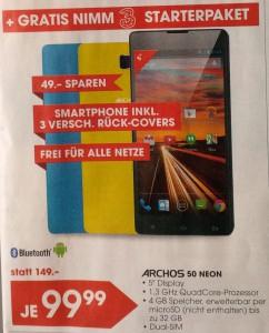 """Archos 50 Neon (5"""", Dual-Sim, 5 MP, 1,3 GHz Quad-Core, FM-Radio) um 99,99 € - bis zu 33% sparen"""