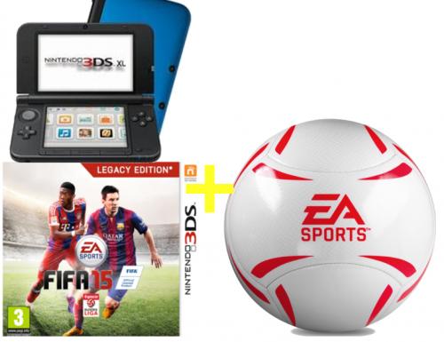Nintendo 3DS XL in blau/schwarz + FIFA 15 + EA-Sports Fussball um 166 € - bis zu 20% sparen